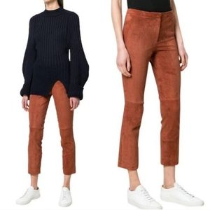 Theory   Navalane Stretch Lamb Suede Pants Rust
